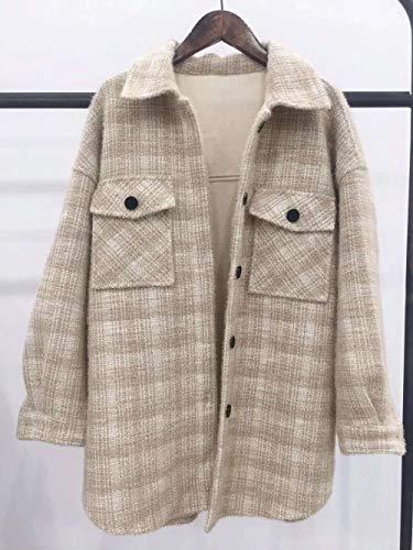 Skjorta Damskjorta Stickad Retro rutig skjortjacka Kvinnor faller vinterapplicera på festhelg Dagligt arbete Etc-Beige_Coffee_L