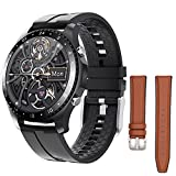 SmartWatch with 2 Bands,Android SmartWatch for Man,Call and App Message Reminder Watch,SmartWatch for Android/iOS,Music Watches,Fitness Tracker Smart Watch for Men,Waterproof Bluetooth Watch (Black)