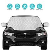 QcoQce Car Windshield Cover, Magnetic Snow Cover, Windscreen Cover with Side Wing Mirror Cover, Frost Guard Pefect Fit for Cars (147×120cm)
