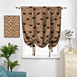WodCht Blackout Curtains, Roman Curtains Tie Up Room Darkening Shades Coffee Cups Espresso W42 x L72 Easy Install for Bedroom Kitchen Home