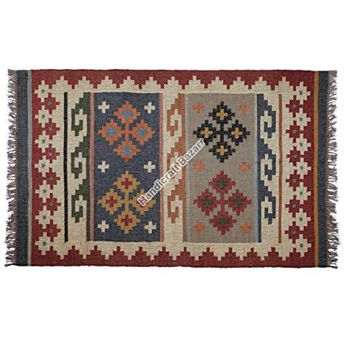Handicraft Bazarr Alfombra de yute estilo vintage, hecha a mano, de 4 x 6 pies, con zona de yute, alfombra bohemia, alfombra étnica, alfombra Kilim, alfombra turca, alfombra de yoga