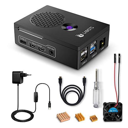 LABISTS Raspberry Pi 4 Custodia, Alimentatore 5.1V3A, Ventola, HDMI, 3 Dissipatori di Calore, Cacciavite Magnetico, Accessori per Raspberry Pi 4
