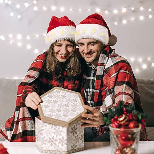 iMucci 2 pacchi Cappello da Babbo Natale per Adulti 14 Pollici con 12 luci Cappelli Natalizi Comfort in Velluto Unisex per Natalizie Festa Festiva(2 Pezzi per Donna, 12 Pollici)…