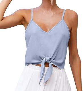 2b5b4703ebd59 Toimothcn Women Button Chiffon Crop Top Vest Tank Tie Knot Front Sleeveless  Shirt Blouse Tops