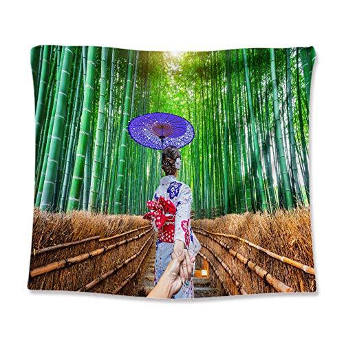 Tong XIN Bamboo Forest Sun Umbrella japonés Mujer Kimono luz del Sol Verde Brillante Tapiz