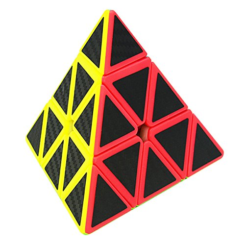 LSMY Zauberwürfel Megaminx 3x3 Speed Cube, Speedcube Magic Pyramid Triangle Puzzle Würfel Carbon Faser Aufkleber 3D IQ Spielzeug