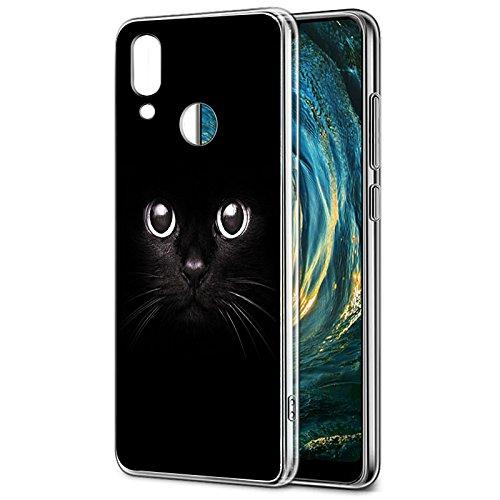 Cover Huawei P20 Lite, Eouine Custodia Cover Trasparente con Disegni, Ultra Slim Antiurto Morbido 3d Cartoon Bumper Case Protettiva per Huawei P20 Lite Smartphone (Gatto nero)
