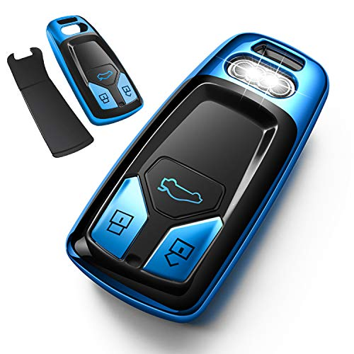 Autophone for Audi Key Fob Cover Case Premium Soft TPU 360 Degree Entire Protection Key Shell Key Case Cover Compatible with Audi A4 A5 Q5 Q7 TT TTS S4 S5 RS4 RS5 Smart Key (only for Keyless go)-Blue