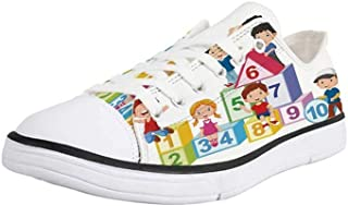 K0k2t0 Canvas Sneaker Low Top Shoes,Educational,Happy Kids Boys and Girls with Number Blocks Triangle Rectangle and Square Decorative