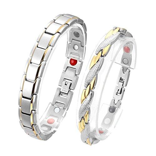 Jovivi Partnerarmband Magnetarmband 2X Edelstahl Magnetische Armreif 4-in-1 Magnete Armband Armrief Silber-Gold