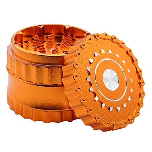 DCOU neues Design Premium Herb Grinder ø63mm 4 Stück Mühle mit Dreieck scharfen Zahn (Orange)