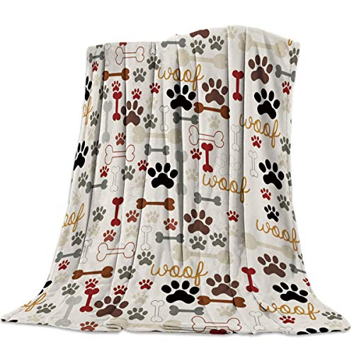 Heart Pain Cartoon Dog Paws Prints Vintage Flannel Fleece Throw Blanket All Season Home Decorative Warm Plush Cozy Soft Blankets for Chair/Bed/Couch/Sofa (49'' x 59')
