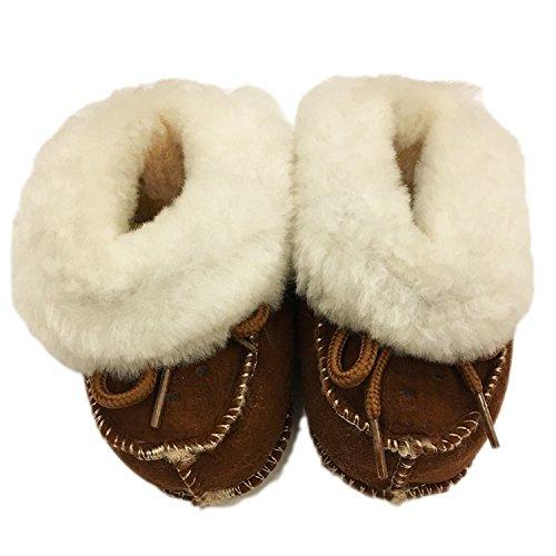 FURFURMOUTON ベビー ムートンルームシューズ 赤ちゃん こども キッズ Baby ベビー靴 室内履き ふわふわ もこもこ かわいい 暖かベビーシューズ SMB812 (ブラウン)