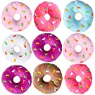 Bedwina Plush Donuts with Sprinkles - (Pack of 12) 1 Dozen Stuffed Donut Pillow Toy Party Favors, Donut Party Supplies Decorations and Stocking Stuffers for Kids
