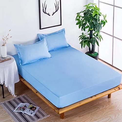 LINGBD Bedding - Protector De Colchón Polyester Transpirable - Funda para Colchon Estira hasta 30 Cm De Profundidad,Blue4,200 * 220