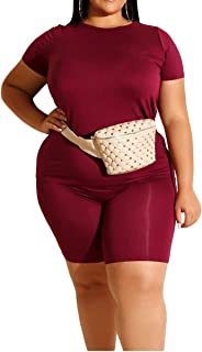Womens Plus Size Lightweight 2 Piece Outfit Sports Tracksuit T Shirt Tops Shorts Jogger Set