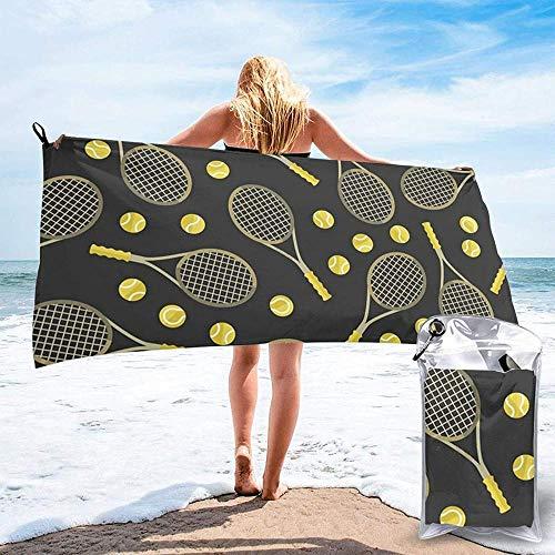 Toalla De Playa De Secado Rápido Divertidas Raquetas De Tenis Y Pelotas De Tenis Toallas De Baño De Microfibra Impresas Aptas para El Hogar Niños Y Adultos Camping Natación Yoga-31.5'X63'