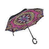 Paraguas psicodélico indio mandala invertido reversible para las mujeres para hombre de viaje invers...