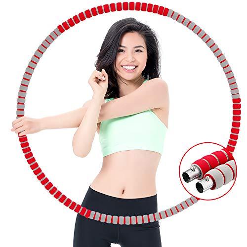 Vingtank 1,2 kg Fitness Reifen Erwachsene Hoop, Fitness Reifen Abnehmbarer für Gewichtsabnahme Fitness, Edelstahlrohr Angedickter Schaumstoff, Einstellbares Gewicht mit Mini-Maßband(Rot)