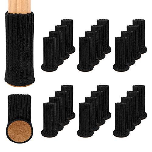 RCHYFEED Möbelbeinsocken, 24 Stück, Gestrickte Möbelfuß-Abdeckung, Stuhlbein-Bodenschoner Vermeiden Kratzer, Geeignet für 1 bis 2 Zoll Durchmesser der Stuhlfüße, Schwarz
