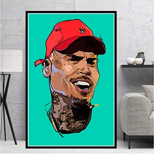Chris Brown Lienzo Pintura Rapero Hip Hop Música Cantante Estrella Cartel Impresiones Arte De La Pared Decoración del Hogar Картины 50X70Cm -Gl2928