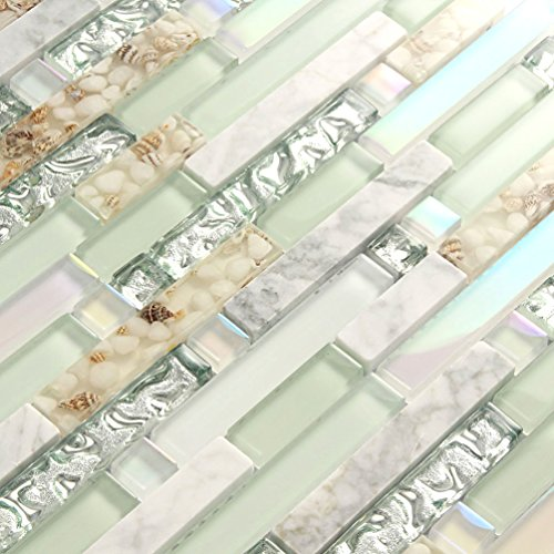 Beach Style Wall Tile Mosaic Kitchen Backsplash Tiles Green Bathroom Silver Glass Conch Stone White Marble Iridescent Mosaic Art Deco Sheets [Pack of 11PCS(12.4x11.8x0.31 Inches/Each)]