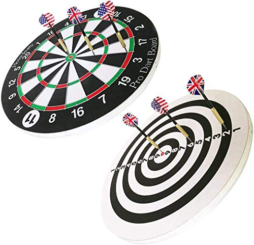 Dart Board Set, 15 Inch Double Sided Dart Board Flocking Dart Board Including 6 Darts Indoor Outdoor Party Games, Sports Gifts for Kids and Adults, Easily Hangs Anywhere