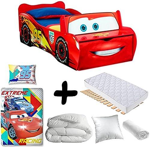 BEBEGAVROCHE Premium Bett Flash McQueen = Bett + Matratze & Bettbezug + Kissen Cars Disney