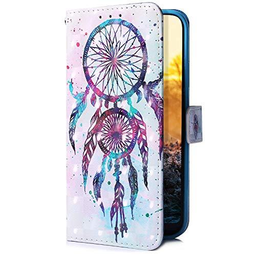 Uposao Kompatibel mit Samsung Galaxy A51 Handyhülle Glitzer Bling 3D Bunt Leder Hülle Flip Schutzhülle Handytasche Brieftasche Wallet Bookstyle Case Magnet Ständer Kartenfach,Traumfänger