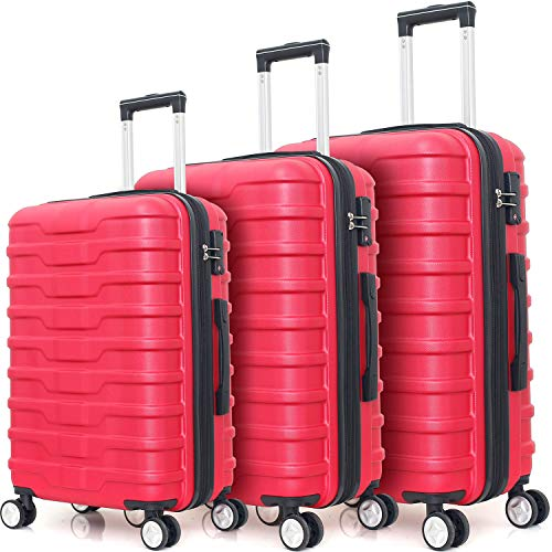 Expandable Hardside 3 Piece Luggage Set with Spinner Wheels and TSA Lock (Rose)
