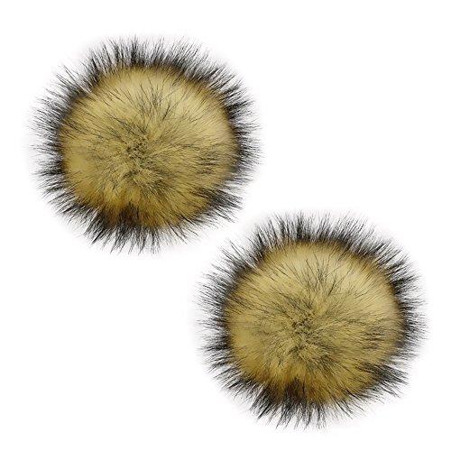 Gosear 2 Piezas 13 cm Faux Piel de Mapache Esponjoso Pom Pom Ball con Broche extraíble Pins Hebilla para Hacer Punto Accesorios para Lana de Punto Gorro de Invierno Gorro de esquí