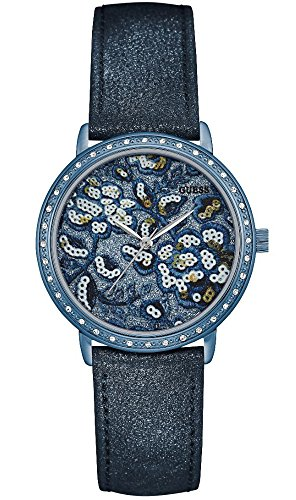 Guess Damen Analog Quarz Uhr mit Leder Armband W0821L2