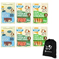 CHOICE SELECTION: Keeping your dog happy and stimulated with this selection of 3 great flavours of dog chew. HEALTHY: Your dog will love the flavours and with the added value of these good boy dog treats being both low in fat and are natural dog trea...