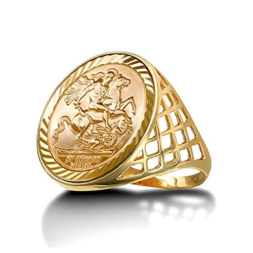 Jewelco London Men's Solid 9ct Yellow Gold St George Dragon Slayer Basket Full-Sovereign-Size Ring, Size W