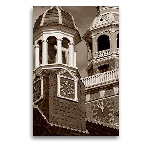 CALVENDO Premium Textil-Leinwand 50 x 75 cm Hoch-Format Rathausturm und Alte Waage in Leer/Ostfriesland, Leinwanddruck von Peter Hebgen