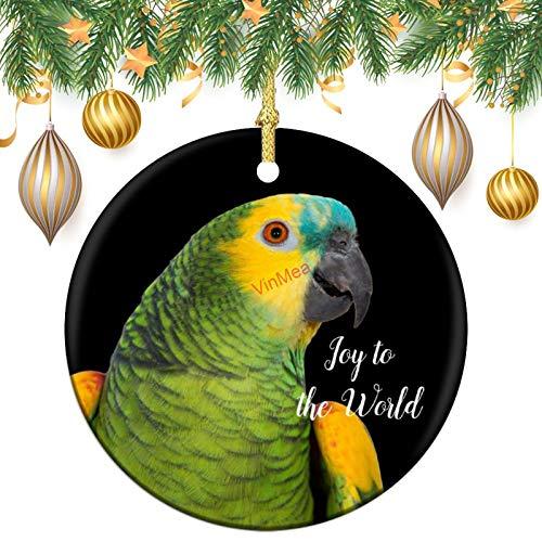 VinMea Personalized Custom Christmas Ornaments Blue-Fronted Amazon Parrot Black Decorative Xmas Hanging Ornament Keepsake