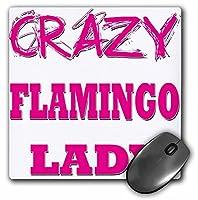 3drose LLC 8x 8x 0.25インチマウスパッド、Crazy Flamingo Lady–(MP 175049_ 1) [並行輸入品]