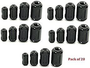 eBoot 20 Pieces Clip-on Ferrite Ring Core RFI EMI Noise Suppressor Cable Clip for 3mm// 5mm// 7mm// 9mm// 13mm Diameter Cable Black