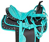 Acerugs Beautiful Western Pleasure Trail Barrel Racer Show Horse Saddle Free TACK Set PAD Silver Crystals (Turquoise, 15')