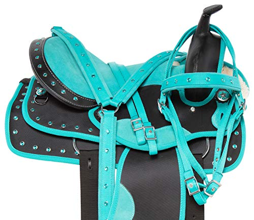 Acerugs Beautiful Western Pleasure Trail Barrel Racer Show Horse Saddle Free TACK Set PAD Silver Crystals (Turquoise, 15