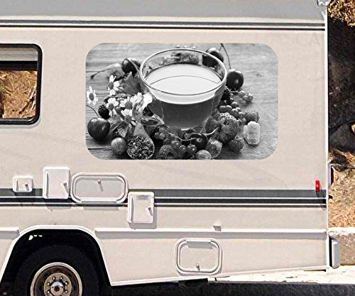 3D Autoaufkleber Tee Tasse Früchte Früchtetee Obst Beeren Küche schwarz Wohnmobil Auto Fenster Sticker Aufkleber 21A1169, Größe 3D sticker:ca. 45cmx27cm