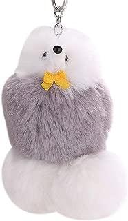 Sanwooden Cute Keychain Fluffy Cartoon Dog Keychain Key Ring Chain Pendant Handbag Bag Wallet Decor Girl Fashion Accessories