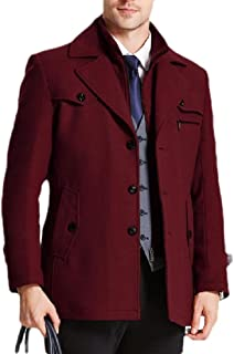 Men's Wool Blend Single Slim Double-Breasted Notched Collar Pea Jacket Coat