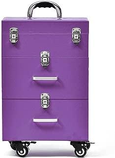 Beauty Trolley Box Travel Makeup Case,Nail Art Make-Up Beauty Case/Trolley/Suitcase/Box for Nail Polishes,Blue (Color : Purple, Size : -)