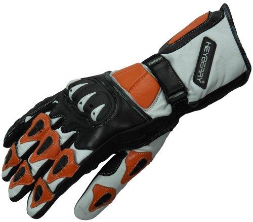 HEYBERRY Motorradhandschuhe Leder Motorrad Handschuhe schwarz weiß orange Gr. M