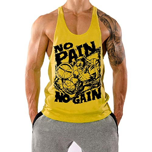 InleaderStyle Men's Gym No Pain No Gain Bodybuilding Stringer Tank Top Muscle Workout Fitness Sleeveless Cotton Vest-YL-L Yellow