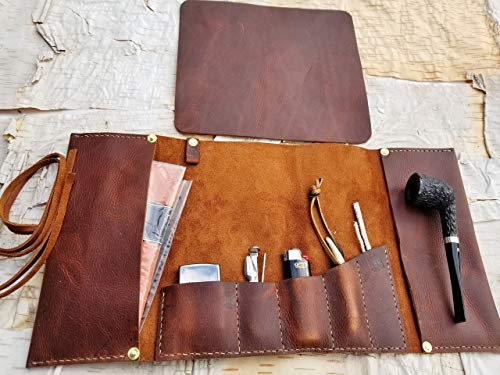 Large Leather Pipe & Tobacco Pouch