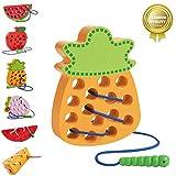 Sunshine smile fädelspiel Ananas,fädelspiel Holz,einfädeln Spielzeug,Montessori Spielzeug Holz,Threading-Spiele,Reise Spiel frühes,motorikspielzeug,fädelspiel für Baby kinde