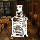 Bar Alcohol Restaurante Whisky Tequila Botella de vino Etiqueta de la ventana Decoración de vinilo Calcomanías de pared de avión Mural extraíble-Blanco_29x57cm