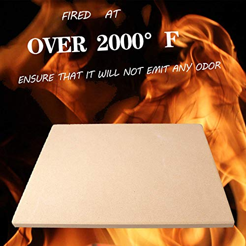 WREVERW Baking Stone for Pizza and Bread, Perfect for Oven, BBQ and Grill.Thermal Shock Resistant, Durable and Safe. 15x12 Inch Rectangular(7Lbs)